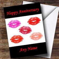 Lots Of Lipstick Kisses Personalised Anniversary Greetings Card