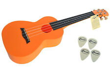 CONCERT UKULELE IN ORANGE ABS BY CLEARWATER - 4 FREE FELT PICKS FREE UK SHIPPING