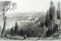 ISTANBUL CITY VIEW FROM EYOUB EYUP MOSQUES BOSPHORUS ~ 1839 Art Print Engraving