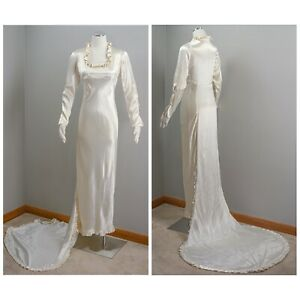 Wonderful 30s Crepe Backed Satin Cream Wedding Gown, Ruffles, with Train, Empier