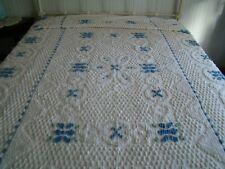 "Chenille bedspread twin size cream blue~green flowers 76""W x 109"" L fringe vguc"