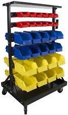 Steel Dragon Tools® 60 Bin Parts Storage Rack with Locking Wheels Shop Nut Bolt