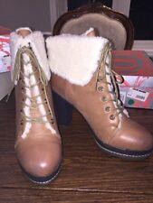 Kelsi Dagger RICCI Luggage Cream Leather Boot High Heels Faux Sheep Lining 10M