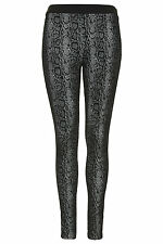 Brand New Topshop snake effect flock treggings UK 14 in Monochrome/Black& White