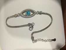 .925 Sterling Silver Ladies White CZ Evil Eye Bracelet