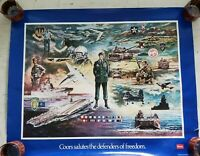 Vintage poster 1986 COORS Salutes the Defenders of Freedom George Skypeck SIGNED