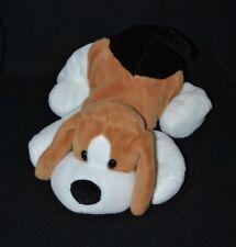 Peluche doudou chien PLANET PLUCH JEMINI brun blanc noir yeux durs 27 cm TTBE