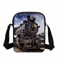 Steam Train Pattern Satchel Boys Messenger Bag Kids Everyday Shoulder Bag Wallet