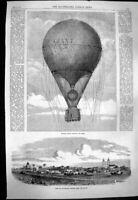 Original Old Antique Print 1863 Nadar Giant Balloon Paris Matamoras Victorian