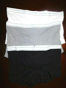 3 Pair Hanes 100% Cotton Undies Boy Cut Size 7 / Large White, Black, Gray