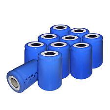 10 pcs 1.2V SC 1600mAh Ni-CD 4/5 SubC Rechargeable Battery Flat Top Cell
