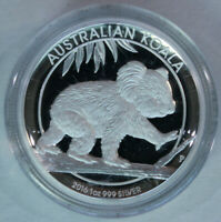 Australian Koala 2016 $1 One Dollar 1oz Pure Silver Proof High Relief Coin