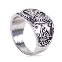 Herren Wikinger Ring Valknut Triskele Wikinger Mittelalter Runenkreis Silber