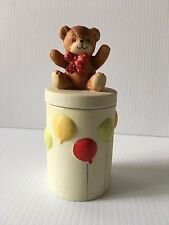 Lucy and Me Teddy Bear and Balloons Lidded Jar circa 1981