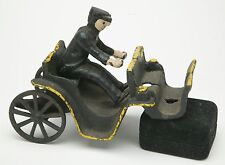 """Vintage Cast Iron Toy """"Carriage With Man Driver.  Wheel 2"""" Diameter"""". No Horses."""
