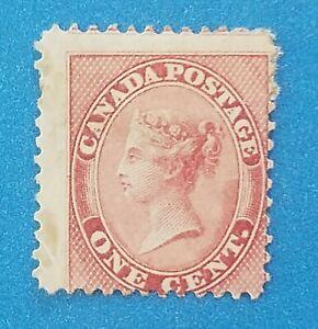 Canada stamp Scott #14 MH good original gum. Good bright rose colors. Good perfs