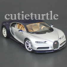 Welly Bugatti Chiron 1:24 Diecast Model Toy Car 28077D Two Tone Blue Silver