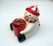 Hallmark CANDLE HOLDER Christmas Vintage SNOWMAN with Red Striped Glass