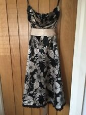 Jane Norman Black & Gold Satin Strapless Dress - Size 10