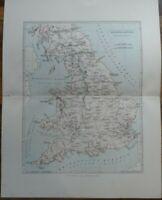 Antique map of Ancient Britain - 19th century Victorian colour map print