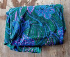 "Vintage Midcentury Wool Paisley Fabric - Green / Blue / Pink - 74"" x 54"""