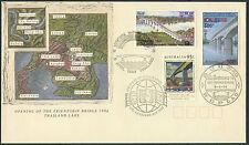 LAOS 1er Jour N°1124 Pont de l'amitié (+ 2 timbres) Thailande Australie 1994 FDC