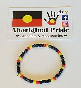 Beaded Bracelet Aboriginal Flag Colours ❤️💛🖤 Handmade to size wooden beads BLM