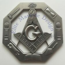 "New 3D.. Masonic Master Mason Cut out Car, Multipurpose 3"" antique Silver emblem"