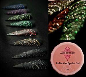 Alex Boutiqu 8g Reflective Glitter Spider Nail Art Gel Sparkling Effect Soak Off