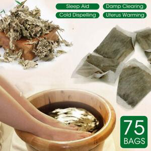75pcs Herb Wormwood Foot Washing Bath Pack Detoxi Herbal Moxa Leaves Soothing