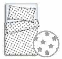 BABY BEDDING SET PILLOWCASE  DUVET COVER 2PC TO FIT BABY COT BED Big grey star