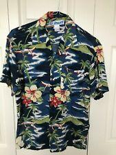 "Vtg Hawaiian shirt Utility blue yellow flowers palm trees Sz S 44"" chest rayon"