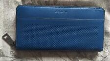 NWT Coach Men's Accordion Perforated Zip Around Wallet Denim Blue F75222