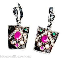 Boucles d'oreilles anciennes argent massif 925 rubis émeraude zircon bijou
