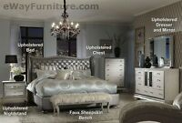 AICO Hollywood Swank Metallic Graphite Leather King Bed Bedroom Furniture