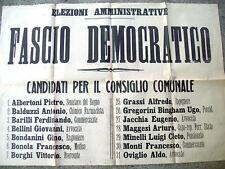 1920 MANIFESTO DEL 'FASCIO DEMOCRATICO' ELEZIONI IN ROMAGNA BONDANINI OVIGLIO...
