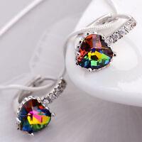Women Fashion Silver Plated Heart Rainbow Topaz Crystal Stud Earring Wedding