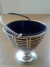 Antique Chester 1910  Silver Handled SUGAR BASKET Cobalt Glass Liner