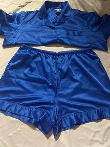 Cabernet Sleepwear Satin Pajama Set 2 Piece Short Sleeve, Shorts 1X Royal Blue