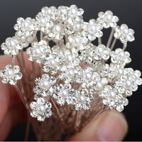 40Pcs Wholesale Lots Wedding Bridal Crystal Wedding Flower Hair Pins Bridesmaid