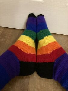 Brand New Luxury Hand Knitted Men's Rainbow/Traditional Gay Pride Socks 🧦