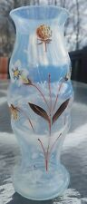 Rare Antique opalescent fry glass hand painted (strawberry plant) vase