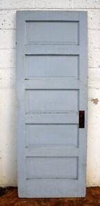 """29""""x77"""" Antique Vintage Reclaimed Old SOLID Wood Wooden Interior Door 5 Panels"""