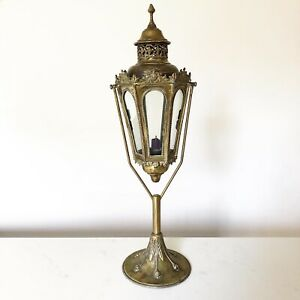 Antique Brass Swinging Candle Holder Lantern Arts And Crafts Table Lamp