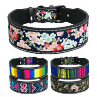 Reflective Nylon Dog Collars for Medium Large Dogs Soft Padded Wide Collar Boxer