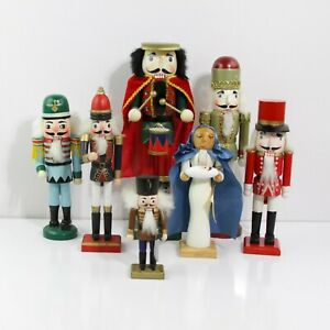 "FESTIVE HOLIDAYS DECOR LOT OF SEVEN DIFFERENT BRAND CLASSIC NUTCRACKERS 5"" - 13"""