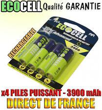 4 Piles AA 3900mAh Rechargeable Mignon LR6 1.2V Ni-Mh  TRES PUISSANT - DE FRANCE