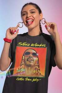 Stevie Wonder Vintage T Shirt, Black Cotton Tee S-5XL