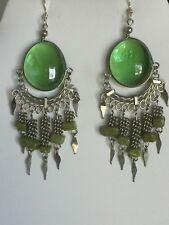 Green Jade Chandelier Earrings New Listing-Sale-Hand-Crafted Green Glass &