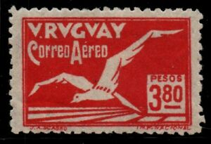 Uruguay air mail Art Deco Bird $3.80 XF-S Centrated MLH very scarce